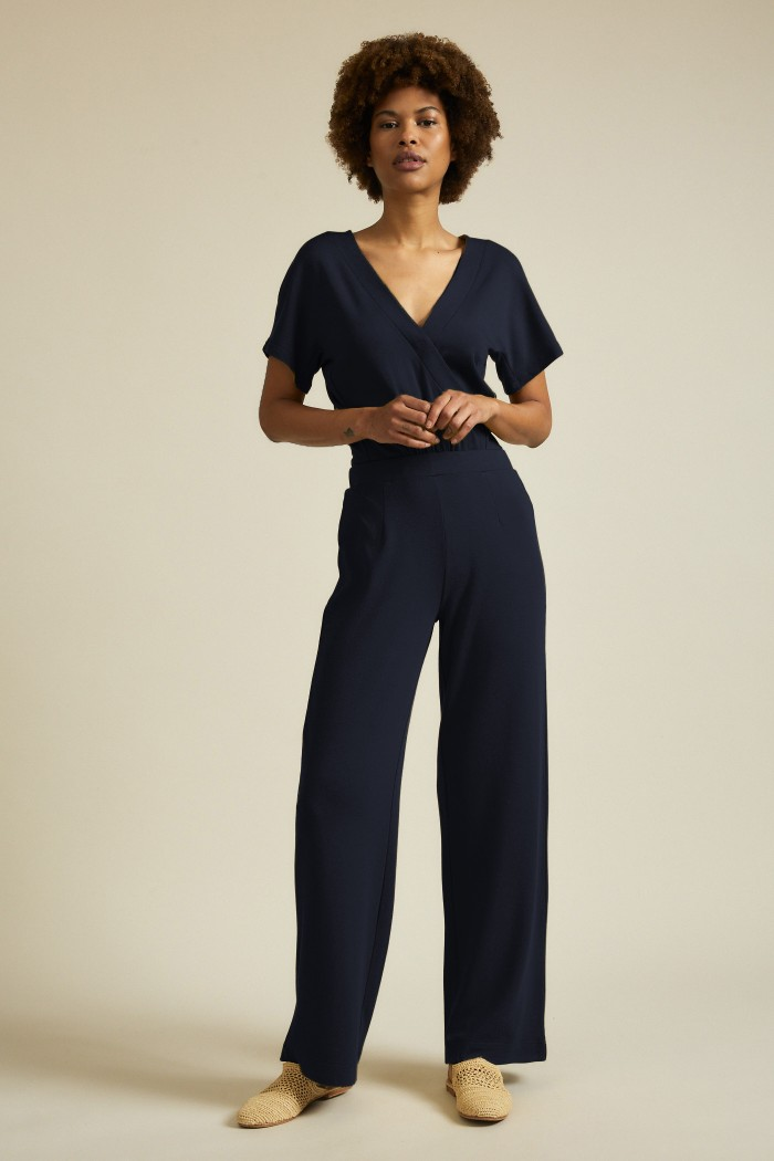 Jumpsuit in Wickeloptik