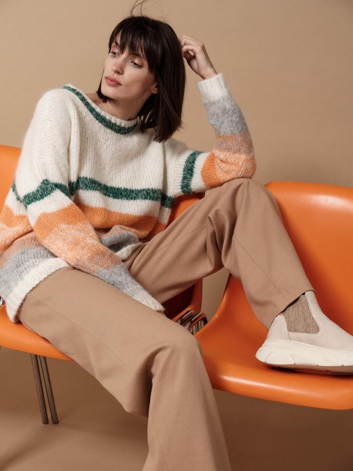 Colourblock knitted jumper in alpaca wool