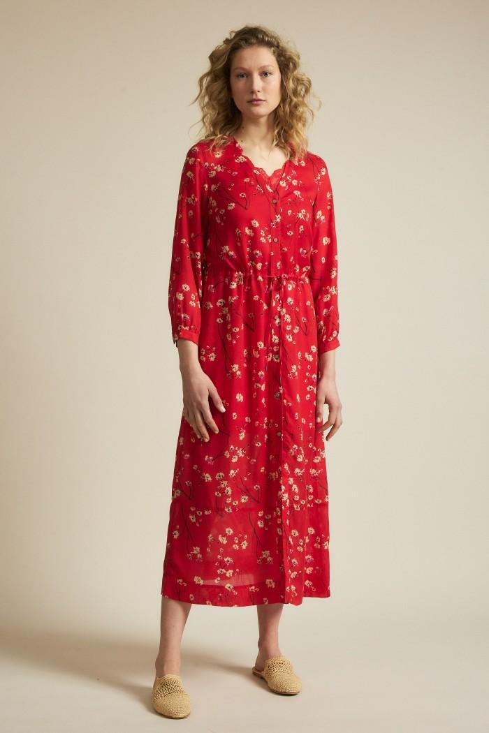 Midi dress with print