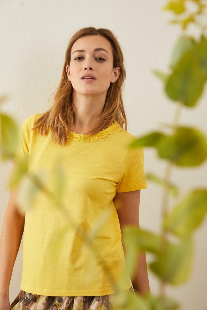 SHIRT mit Spitze aus Hanf mit Bio-Baumwolle