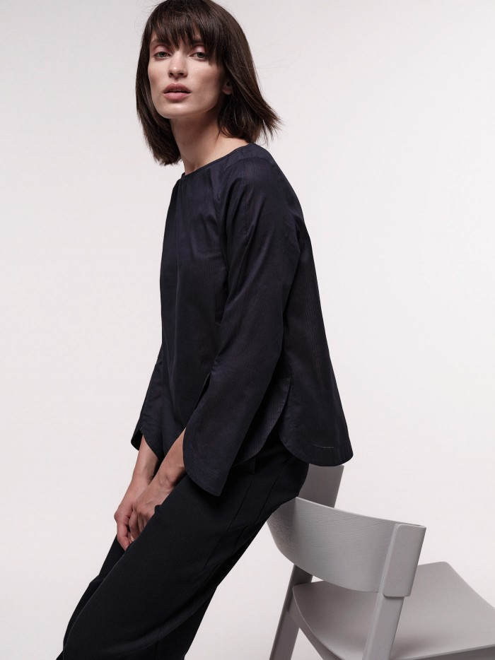 3/4 sleeve blouse with stripes