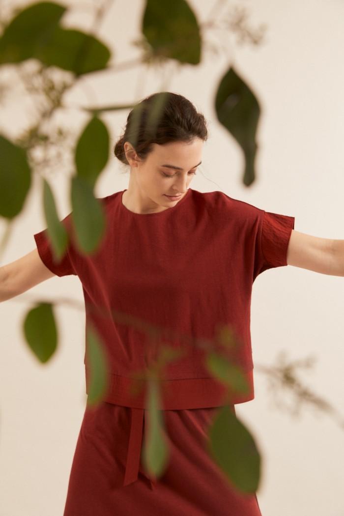 SHIRT mit Seideneinsatz aus Hanf mit Bio-Baumwolle