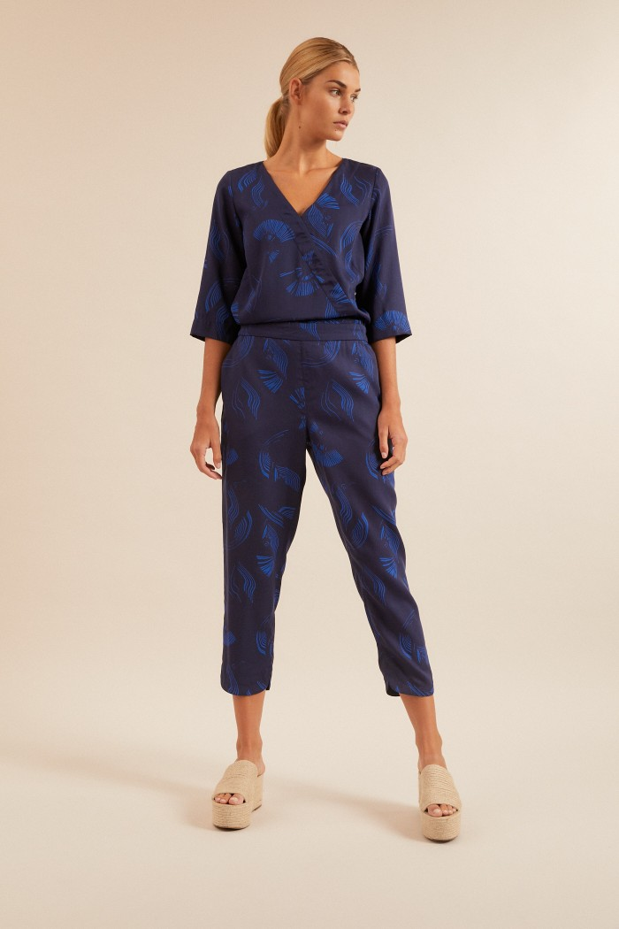 JUMPSUIT in Wickeloptik aus TENCEL™ Lyocell