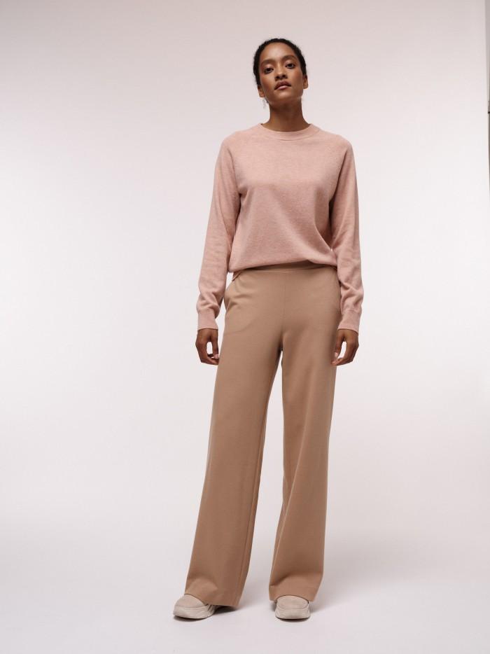Hose mit weitem Bein aus Bio-Baumwolle und Schurwolle