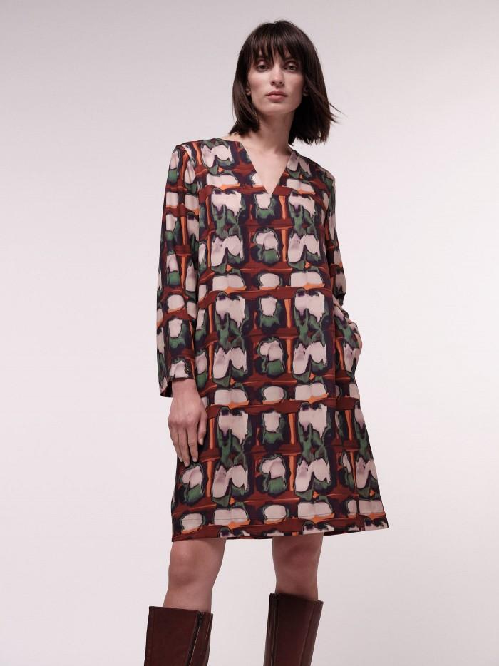 Kleid mit Print Aquarell