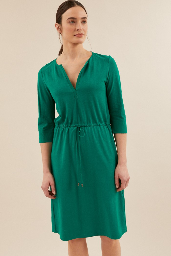 SHIFT DRESS with silk insert made of hemp with organic cotton