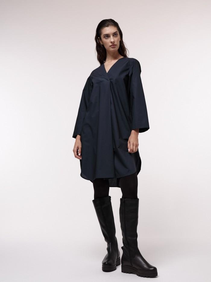 Blouse dress with V-neck
