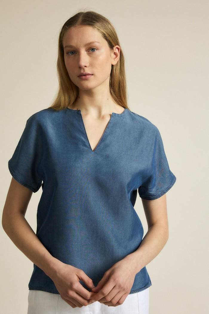 Coole Bluse aus edlem TENCEL™ Lyocell Denim
