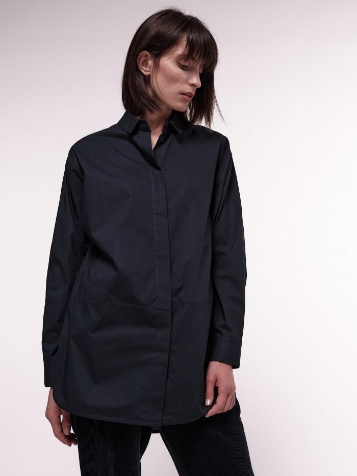 Long organic cotton poplin blouse