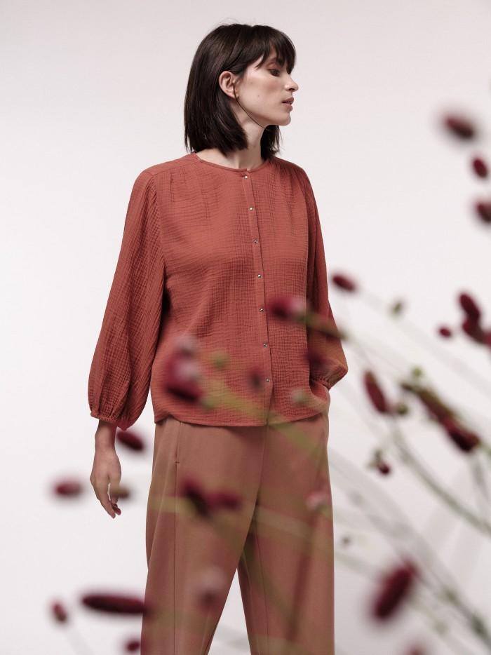 Bluse mit Struktur aus Bio-Baumwolle