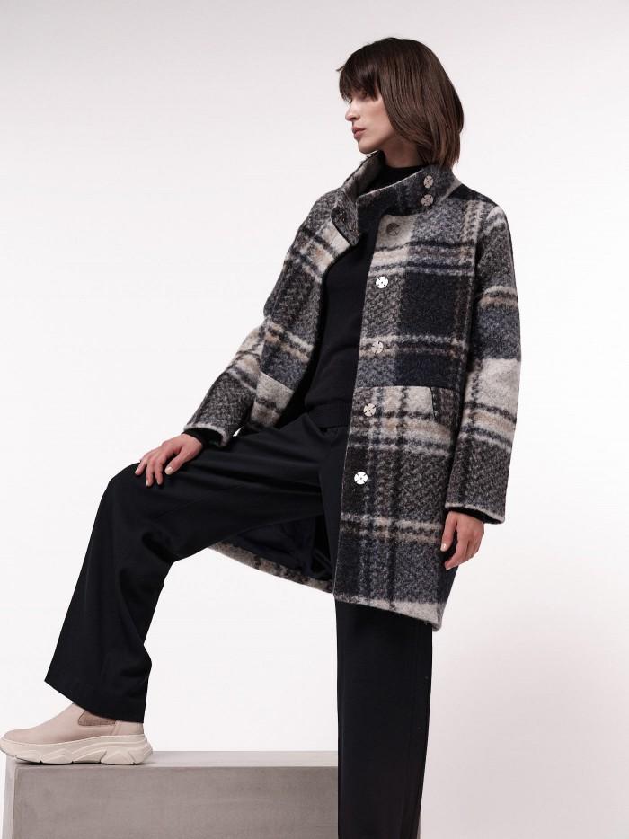 Organic Virgin Wool Check Eggshape Coat