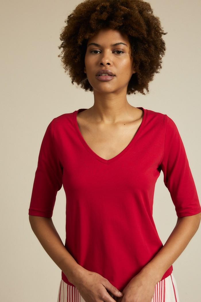 Half sleeve shirt GOTS V-neck