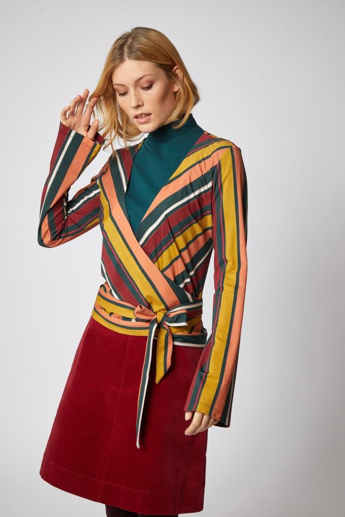 BRIGITTEXLANIUS WICKELBLUSE aus Modal® und Bio-Baumwolle Print Stripes