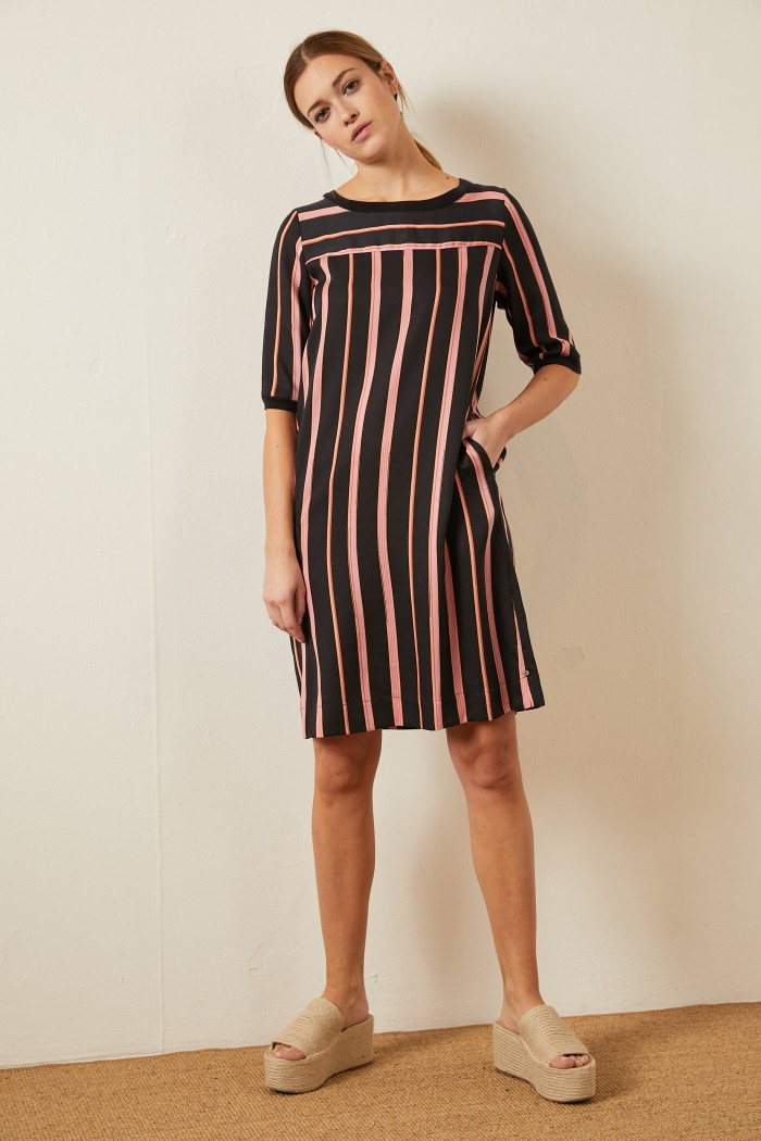 KLEID aus Tencel™ Print Stripes