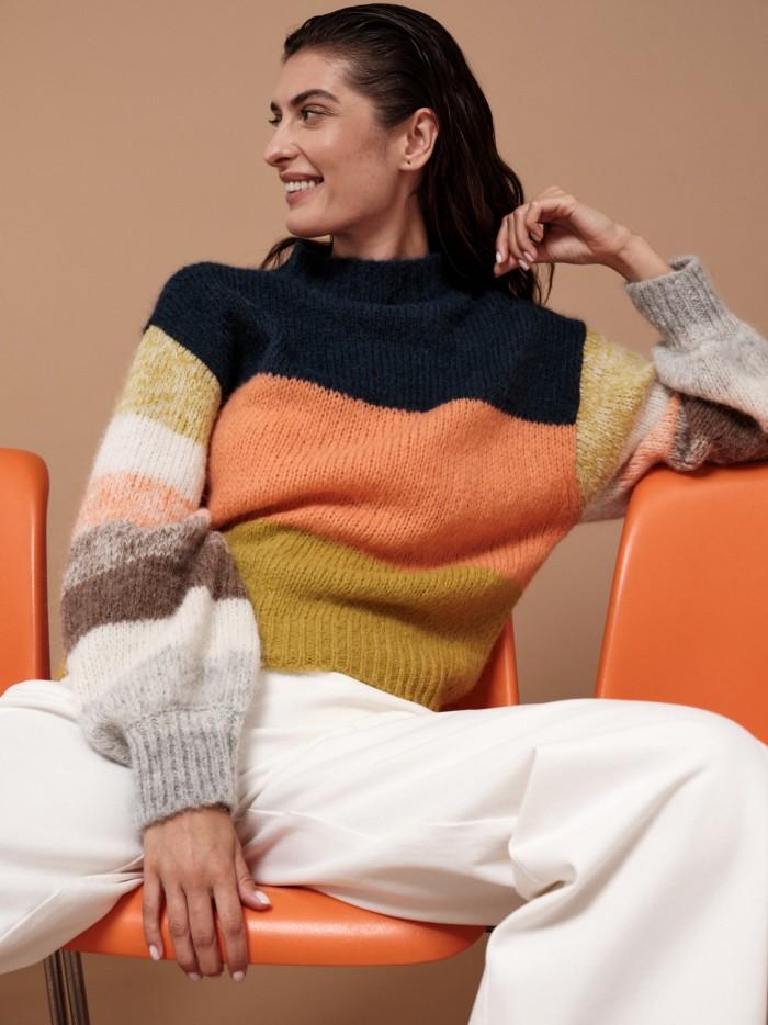 Pullover mit Colorblock aus Alpakawolle