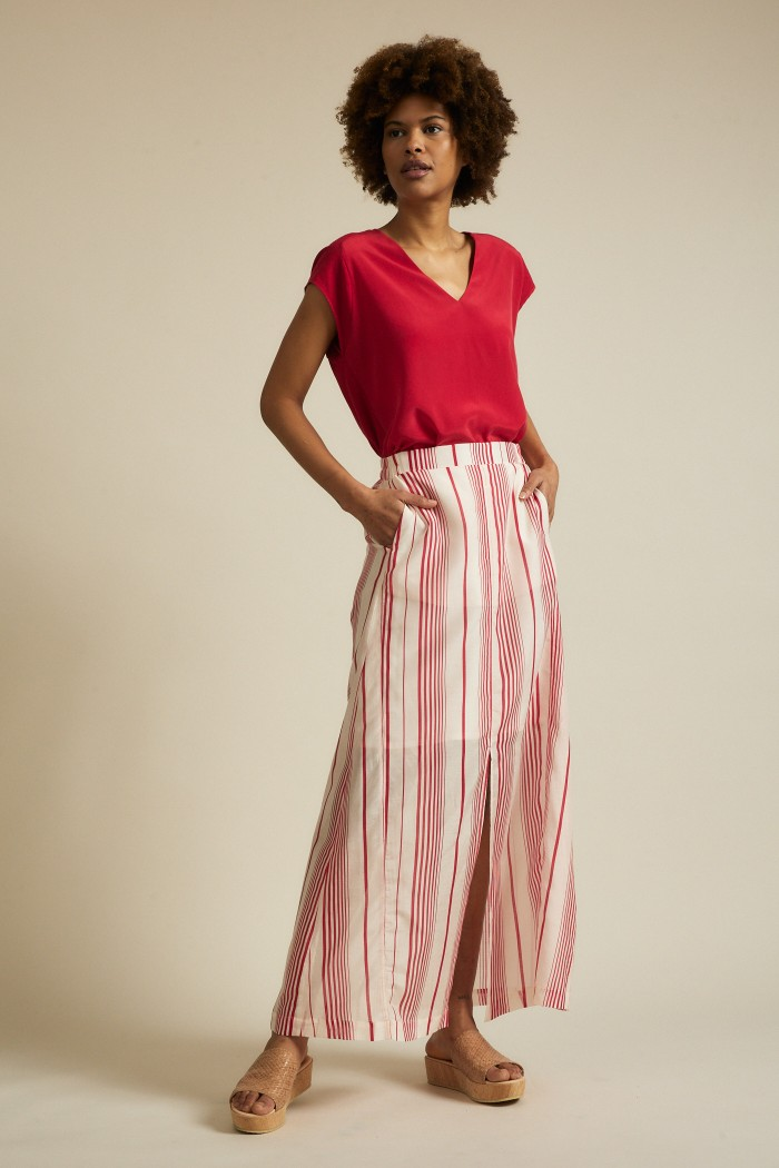Maxi skirt print stripes