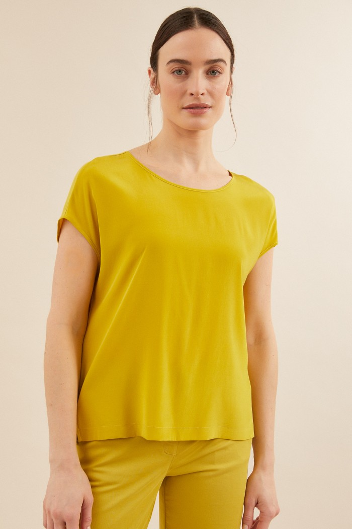 SILK BLOUSE with jersey made of silk