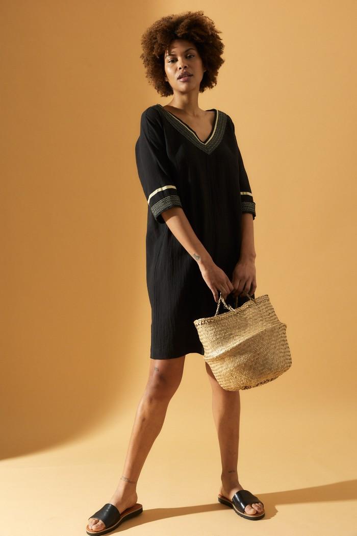 Sommerliches Kleid aus Leinen und Baumwolle (kbA)