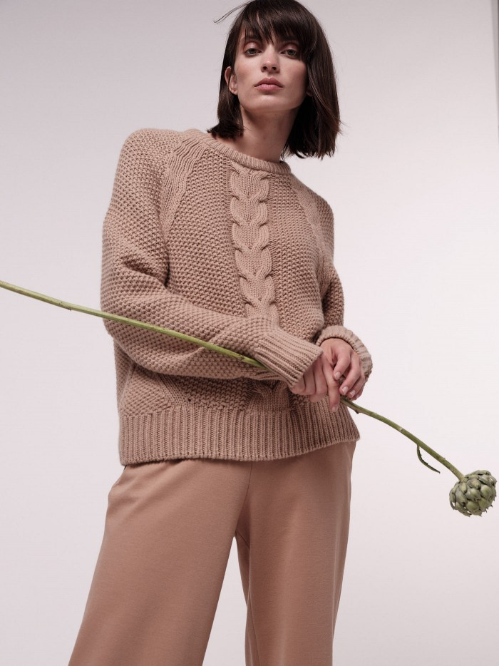 Soft jumper with cable stitch