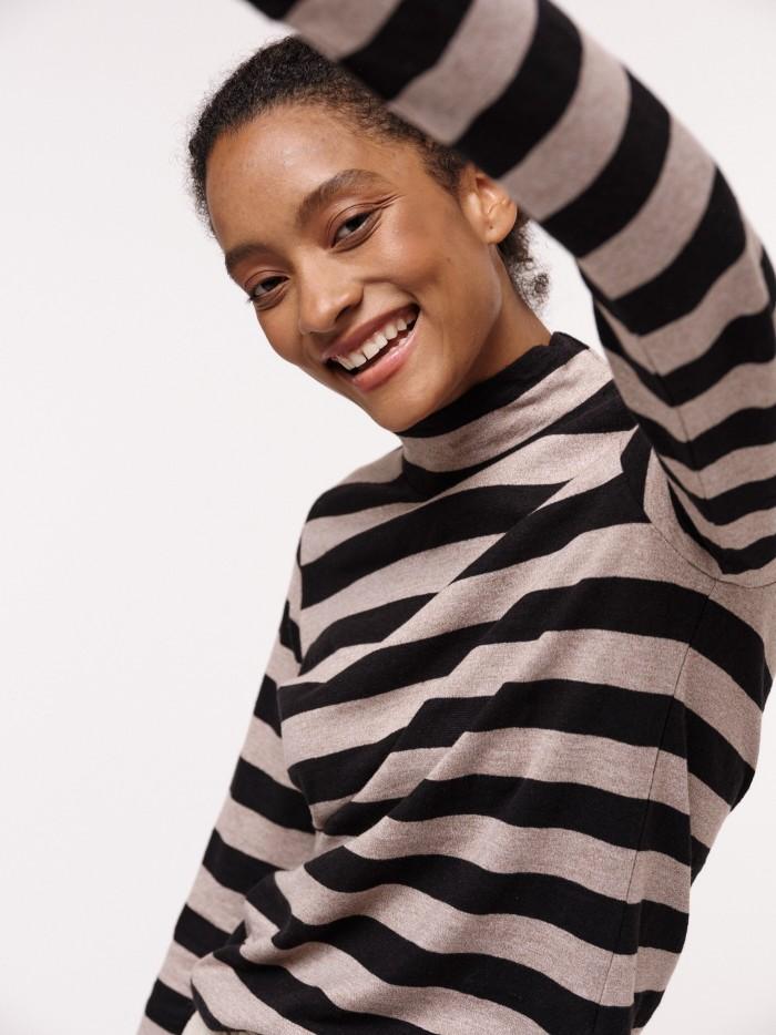 Turtleneck shirt with stripes