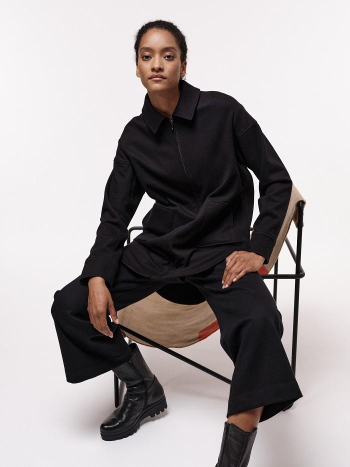 Hemdjacke aus Bio-Baumwolle und reiner Schurwolle