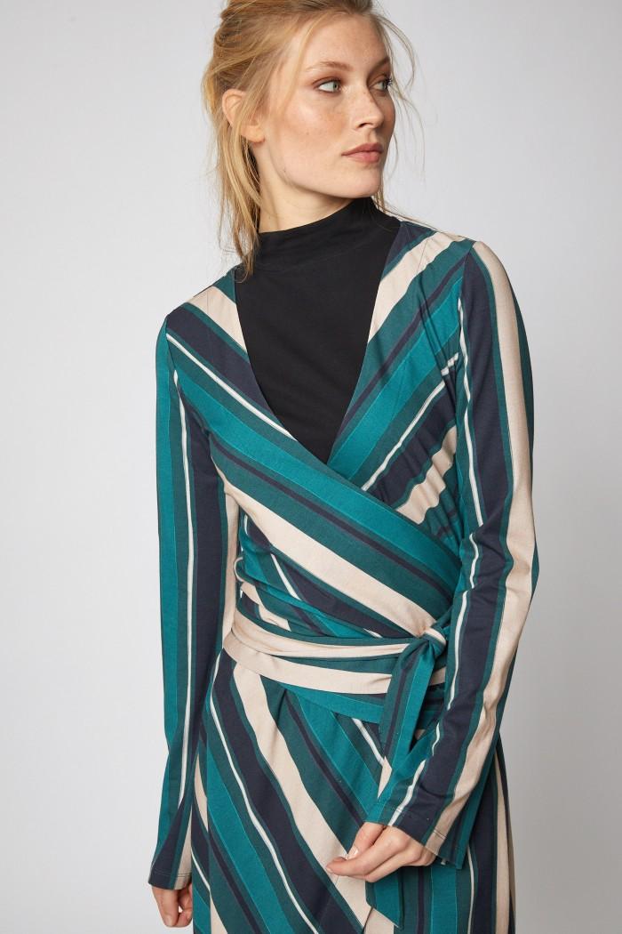WICKELBLUSE aus Modal® und Baumwolle Print Stripes