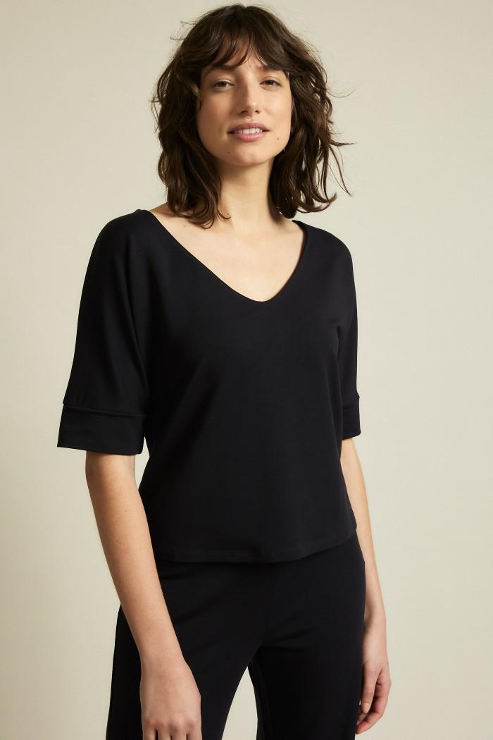 Shirt with V-neck