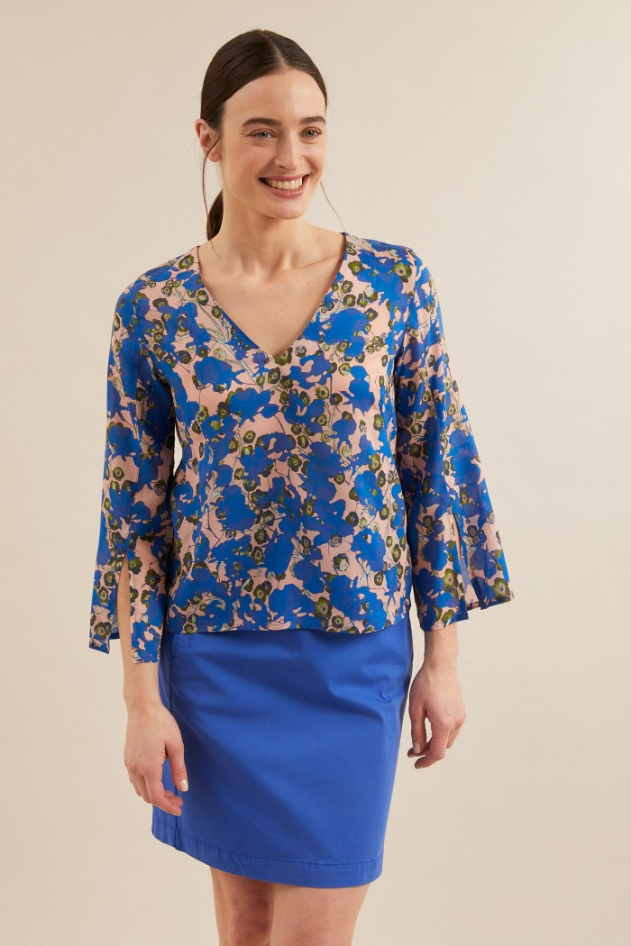 BLOUSE with slits made of TENCEL™ Lyocell