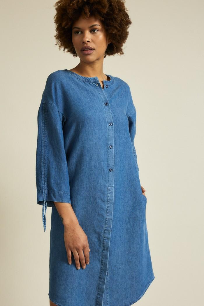 Denim dress with sleeve detail