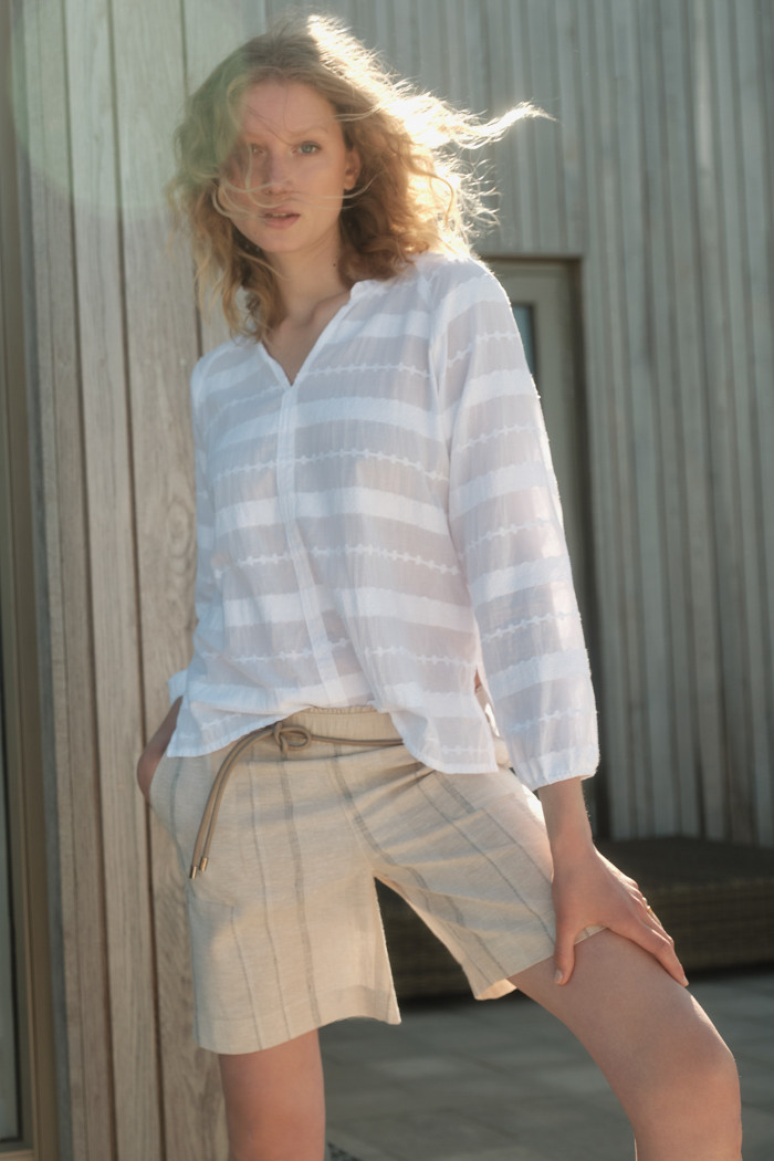 Striped jacquard blouse
