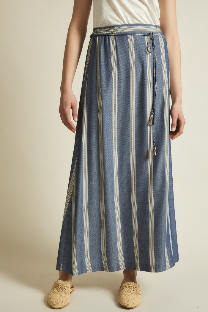 Maxi skirt with stripes