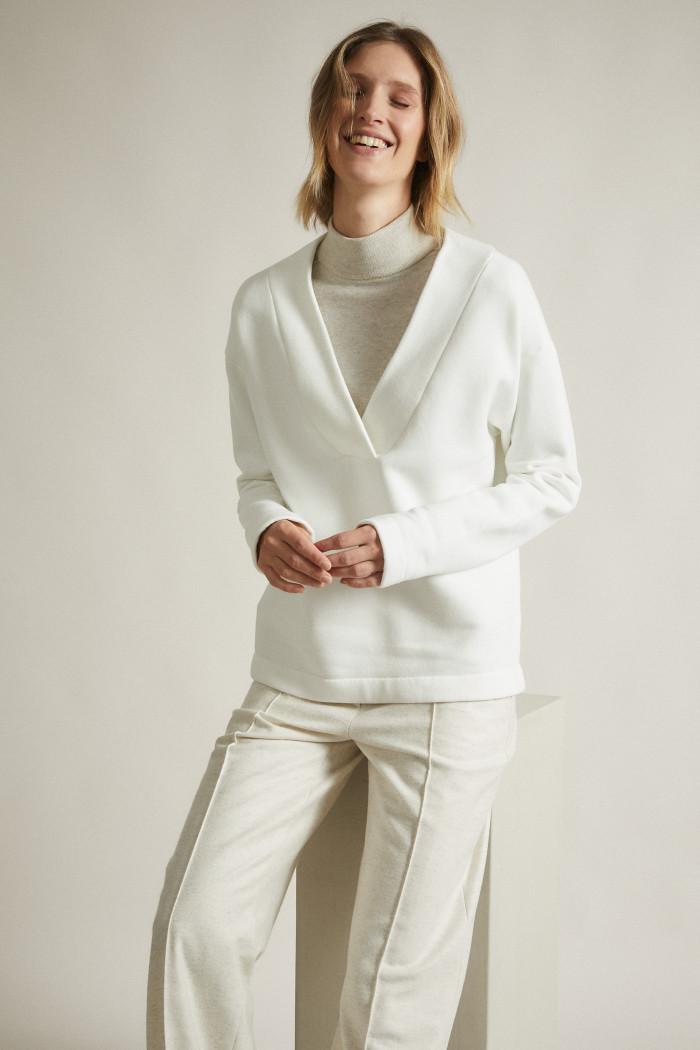 Sweatshirt with V-Neckline