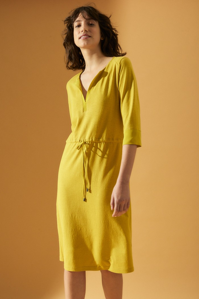 Airy flowing shift dress made of hemp and organic cotton