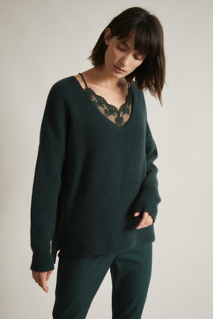 Pullover mit V-Ausschnitt GOTS