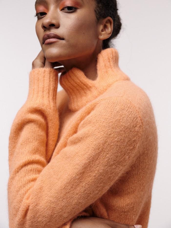 Peruvian Alpaca Wool Stand-Up Collar Sweater with Slit