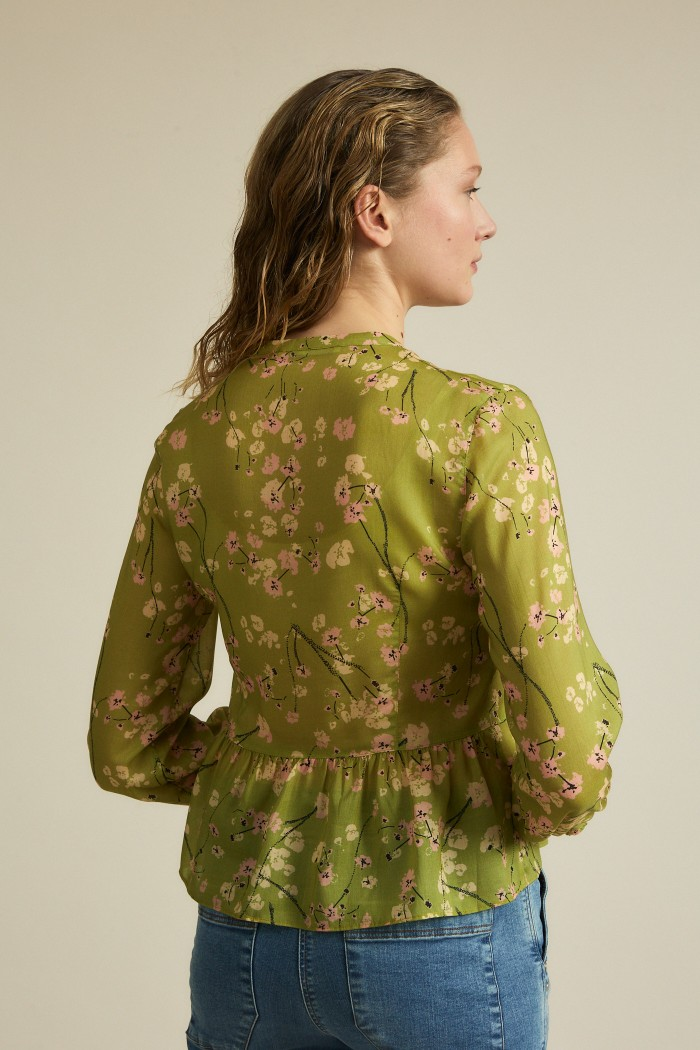 Flounce blouse with print