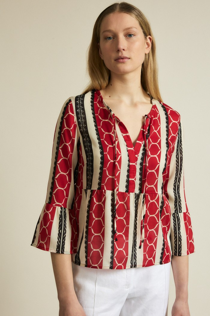 Blouse with ethnic print