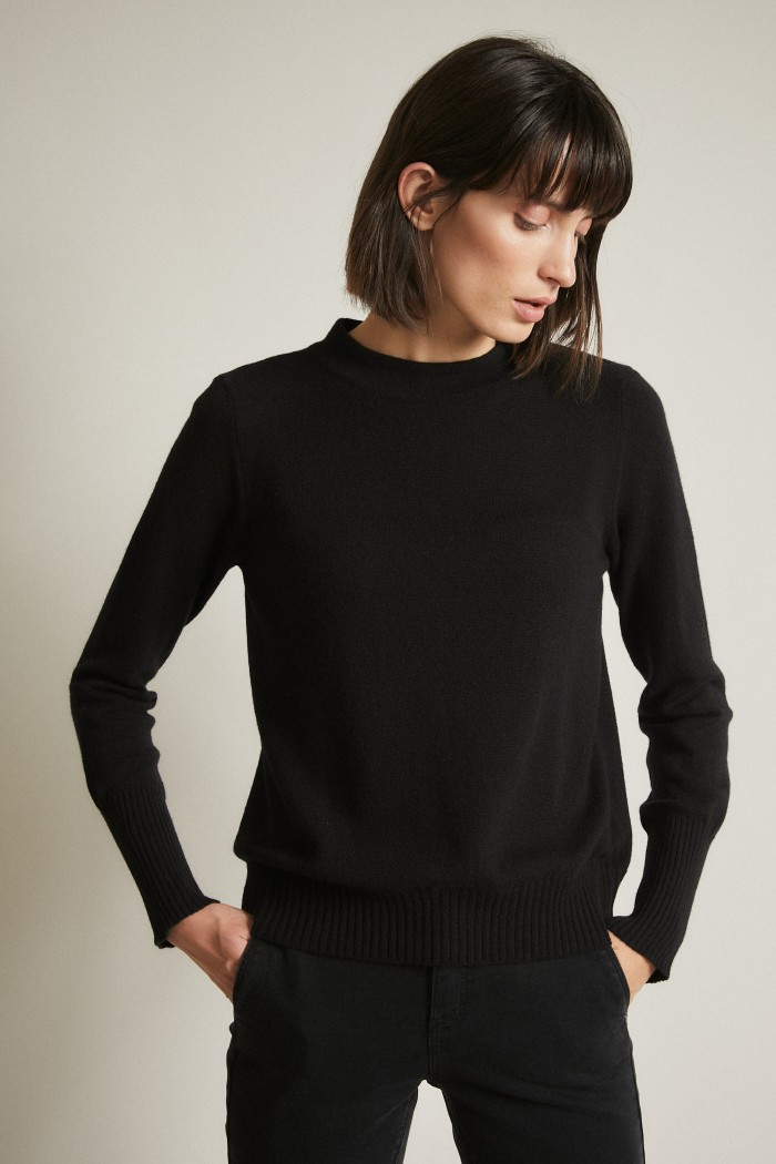Pullover with Stand-Up Collar
