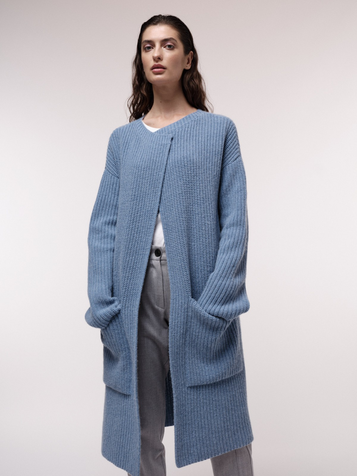 Chunky knit coat made of organic virgin wool and organic cotton