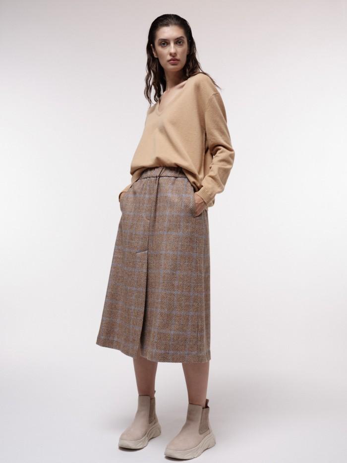 Glencheck Merino Wool Midi Skirt