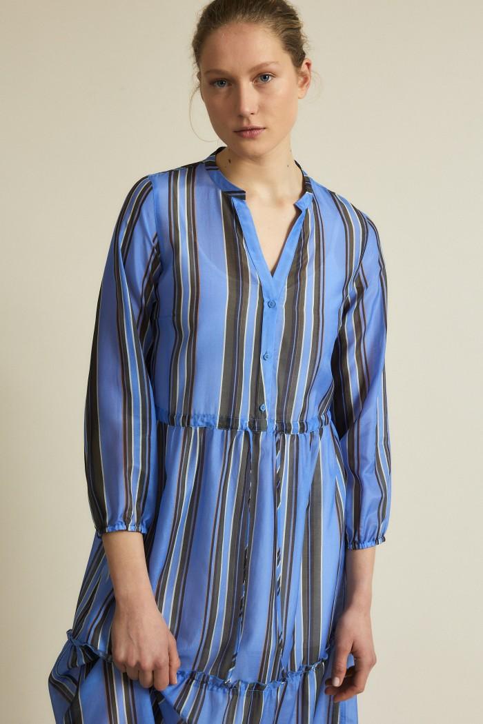 Midi dress with striped print