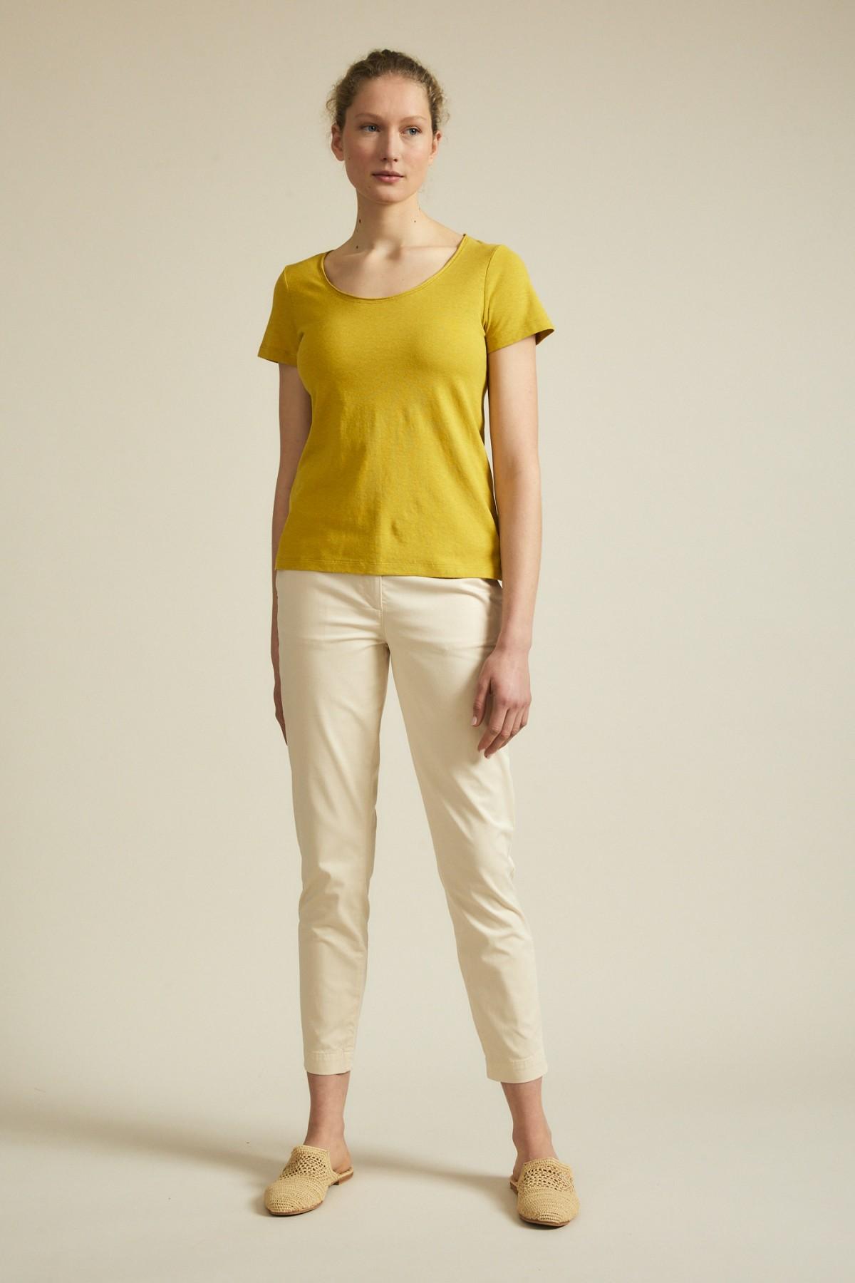 Klassisches Rundhals-T-Shirt aus Hanf-Jersey