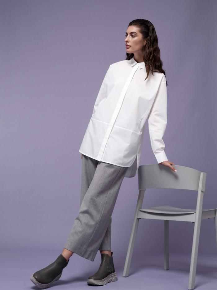 Lange Popeline Bluse aus Bio-Baumwolle