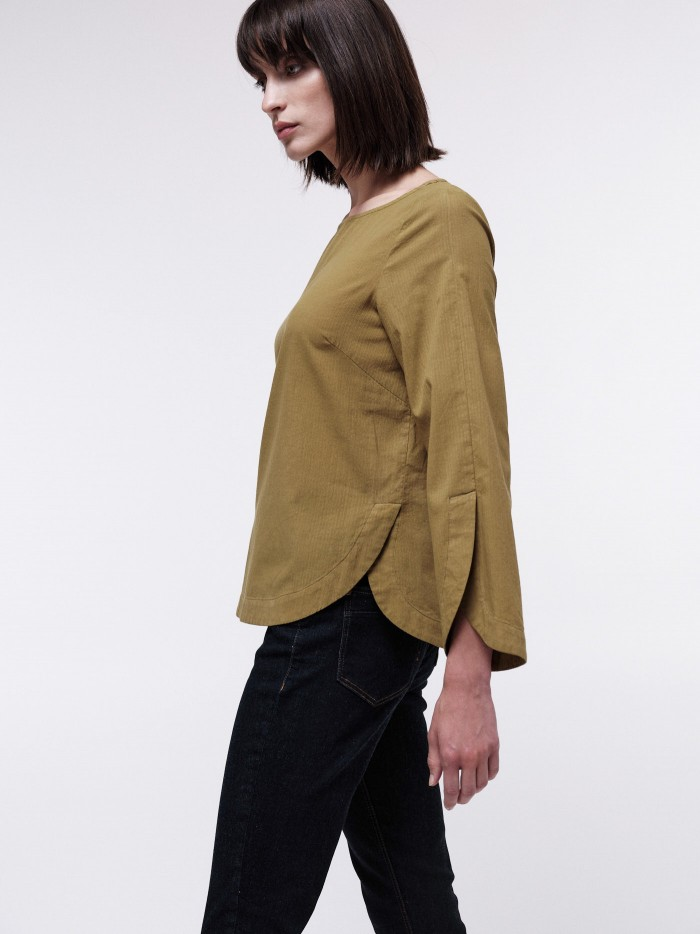 3/4 Arm Bluse mit Streifen aus Bio-Baumwolle