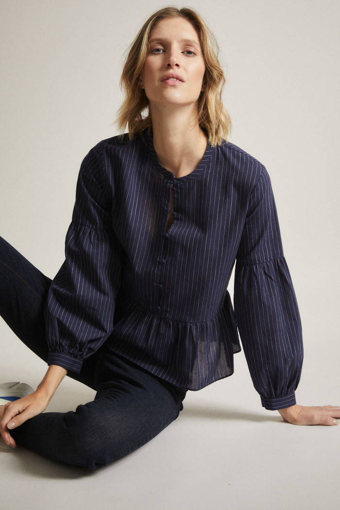 Striped Blouse with Flounce