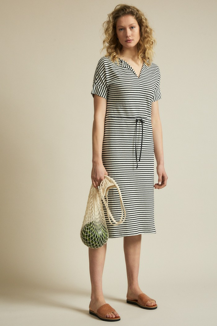 Stripe dress with V-neck